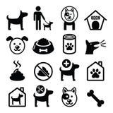 Собака, значки любимчика установила - ветеринар, собачью еду, гостиницу собаки бесплатная иллюстрация