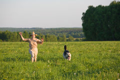 собака играя женщину Стоковое Изображение RF