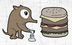 Собака и бургер иллюстрация вектора