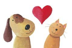 Собака и кот в влюбленности Стоковые Изображения RF