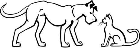 Собака и кот иллюстрация штока