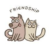 Собака и кошка приятельства Лучшие други также вектор иллюстрации притяжки corel Стоковые Изображения RF