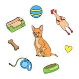 Собака и милые игрушки иллюстрация штока