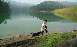 Собака и человек в лесе с озером стоковые изображения