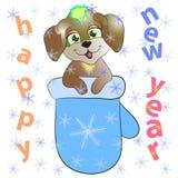 Собака и mitten Нового Года Стоковые Фотографии RF