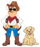 собака ковбоя его иллюстрация штока