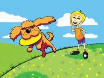 собака мальчика его Стоковые Изображения RF