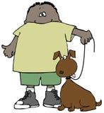собака мальчика его иллюстрация вектора