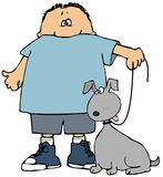 собака мальчика его иллюстрация штока