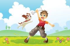 собака мальчика Стоковая Фотография RF