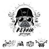 Собака мопса велосипедиста Комплект винтажных эмблем мотоцикла, ярлыков, значки, Стоковые Фото