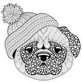Собака мопса с связанной шляпой Татуировка или взрослая antistress страница расцветки Черно-белой doodle нарисованный рукой для к иллюстрация штока