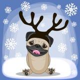 Собака мопса с antlers бесплатная иллюстрация