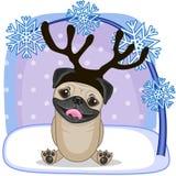 Собака мопса с antlers иллюстрация вектора