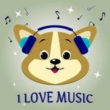 Собака музыкант corgi, слушая к музыке Голова в голубых наушниках в стиле шаржей Стоковые Фото