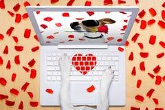 Собака дня валентинок, датировать онлайн на болтовне Стоковые Изображения