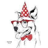 Собака притяжки руки в праздничной крышке также вектор иллюстрации притяжки corel Стоковое Изображение RF