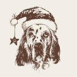 Собака при нарисованная рука шляпы Санта Клауса Стоковое Изображение RF