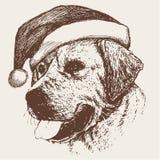 Собака при нарисованная рука шляпы Санта Клауса Стоковое Фото