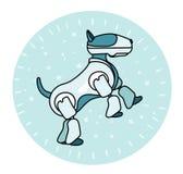 Собака робота стоит на своих задних ногах Стоковая Фотография