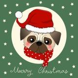 Собака Санта Клауса мопса с красным шарфом на зеленой поздравительной открытке также вектор иллюстрации притяжки corel бесплатная иллюстрация