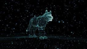 Собака светящих точек в пустом черном космосе Обои в реальном маштабе времени с ровным возникновением через подход и видеоматериал