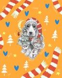 Собака с длинными ушами в шляпе и шарфе иллюстрация вектора
