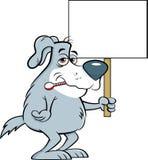 Собака шаржа больная с термометром в его рте пока держащ знак Стоковые Фото
