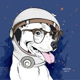 Собака шаржа в космическом костюме ` s астронавта Характер в космосе также вектор иллюстрации притяжки corel Стоковое Фото