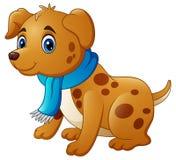 Собака шаржа в шарфе Стоковое Изображение RF