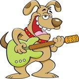 Собака шаржа играя гитару стоковая фотография