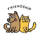 Собака Kik приятельства и кот Tik Лучшие други вектор Стоковые Фото