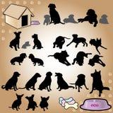 Собака silhouettes серия Стоковое Фото