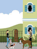 Собаки дамы и человека идя Стоковые Фото
