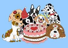Собаки с днем рождения party с большим тортом, рукой нарисованная иллюстрация вектора Стоковые Изображения