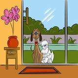 Собаки умоляя на двери иллюстрация вектора