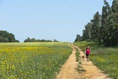Собак-прогулка в сельской местности Стоковое Изображение