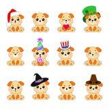 12 собак Emoji Стоковое Изображение