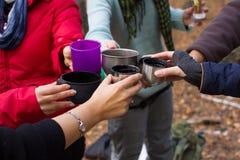 Соберите девушек туристов на питье природы выпивая грея Цель торжества Стекла Clink стоковые фотографии rf