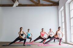 Соберите женщин на поле спортзала спорт делая тренировки Стоковое Фото