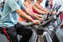 Соберите закручивать на спортзал на велосипедах фитнеса стоковое фото rf