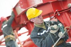 собирая работник металла конструкции строителя Стоковое Фото