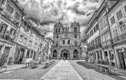 Собор Браги в центре городка историческом, Португалии стоковая фотография rf