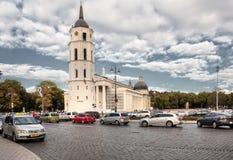 Собор Вильнюса главный римско-католический собор Литвы Оно расположено в городок Вильнюса старый, как раз Cathe Стоковое Фото