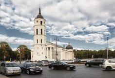 Собор Вильнюса главный римско-католический собор Литвы Оно расположено в городок Вильнюса старый, как раз Cathe Стоковое Изображение