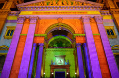 Собор в освещении Xmas, Будапешт St Стивена, Венгрия Стоковые Фото