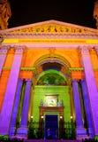 Собор в освещении Xmas, Будапешт St Стивена, Венгрия Стоковые Изображения RF