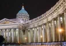 Собор Казани в Санкт-Петербурге на ноче Стоковые Фото