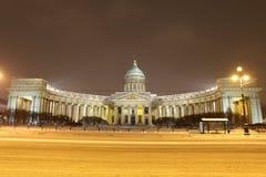 Собор Казани, ноча зимы Санкт-Петербурга n стоковые фото