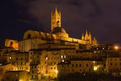 Собор к ноча, Тоскана Сиены, Италия, Европа Стоковые Изображения RF